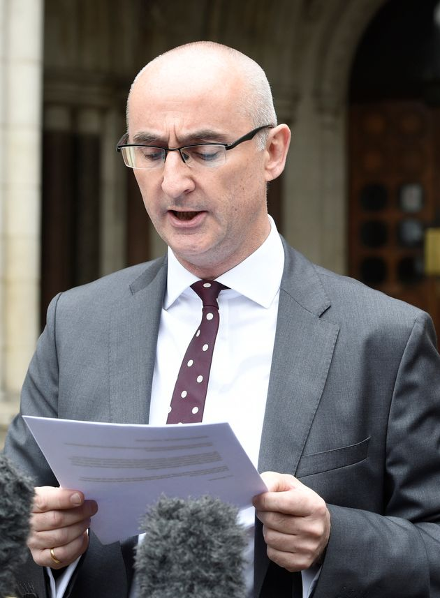 Solicitor Shaun Draycott reads a statement to the media outside the Court of Appeal in London after Evans...
