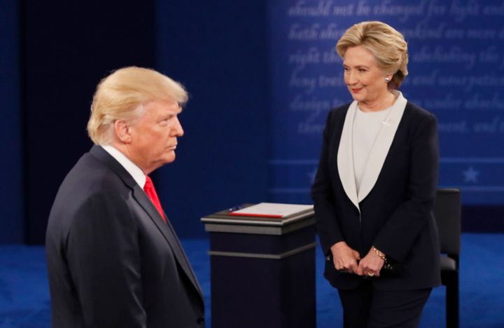 Republican presidential nominee Donald Trump speaks during the presidential town hall debate with Democratic nominee Hillary