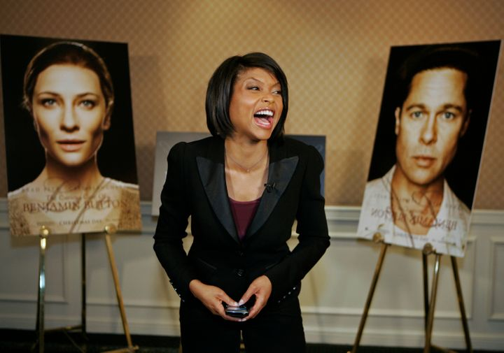 "Henson reacting to her Academy Award nomination for ""Benjamin Button"" in 2009."