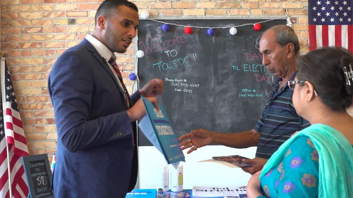 Mohammed Gula, left,leads the Clinton campaign's Muslim outreach in Toledo, Ohio.