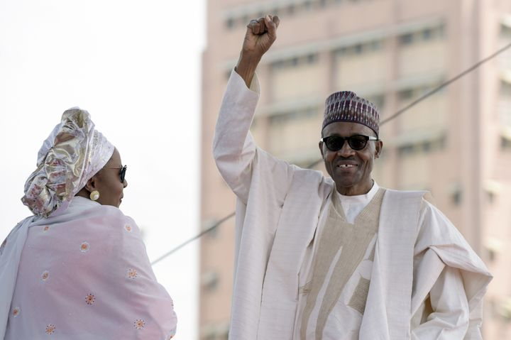 Nigerian PresidentMuhammadu Buhari, pictured with his wife Aisha, scoffed at heron Friday.