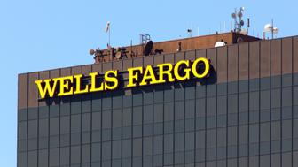 LOS ANGELES, CA/USA - AUGUST 26, 2014. Wells Fargo bank tower. Wells Fargo & Company is an American multinational banking and financial services holding company.