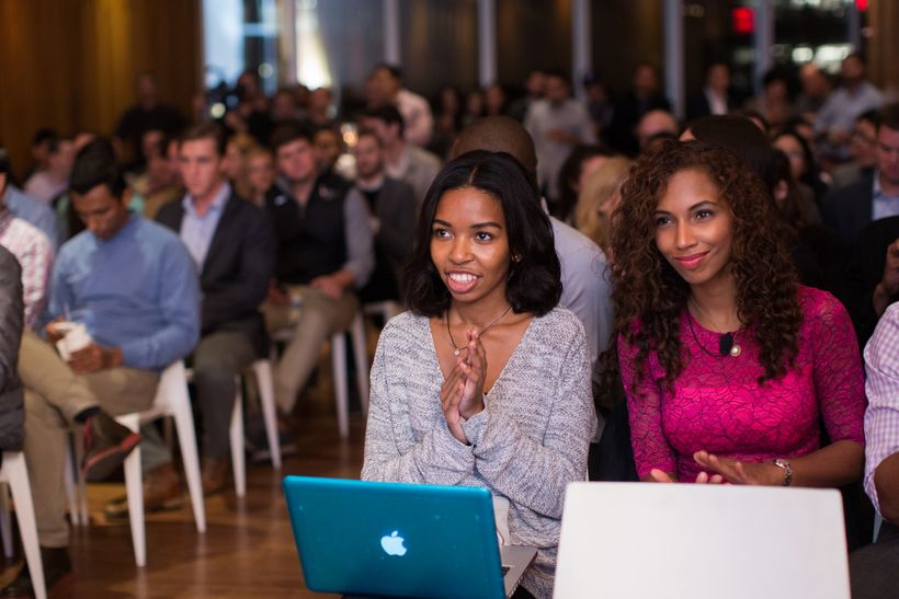 Angelina Darrisaw and Khaliha Hawkins of C-Suite Coach, preparing to pitch