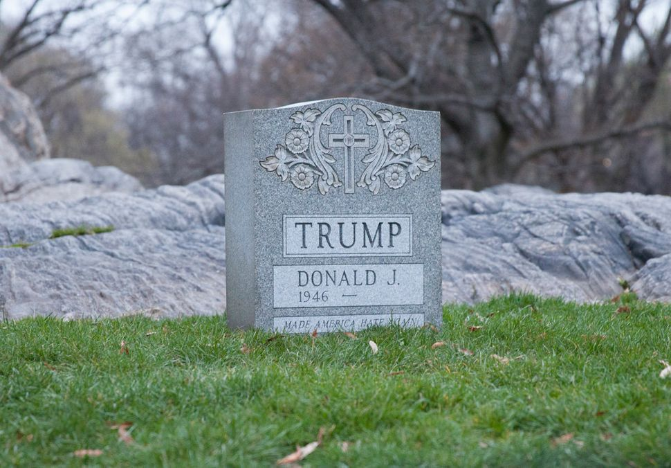 "Brian Andrew Whiteley, ""The Legacy Stone Project (The Donald Trump Tombstone),"" 2016, granite, 20 x 24 x 8 inches (50.8"