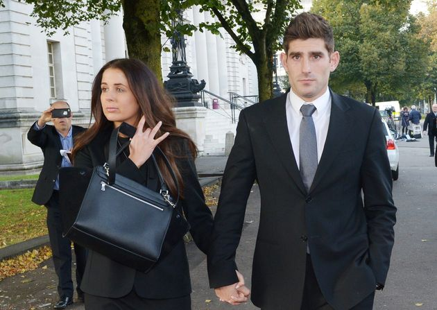 Natasha Massey (left) and her partner Ched Evans (right) outside Cardiff Crown