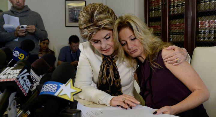 Attorney Gloria Allred (left) and Summer Zervos (right) at Friday afternoon's news conference in LA.