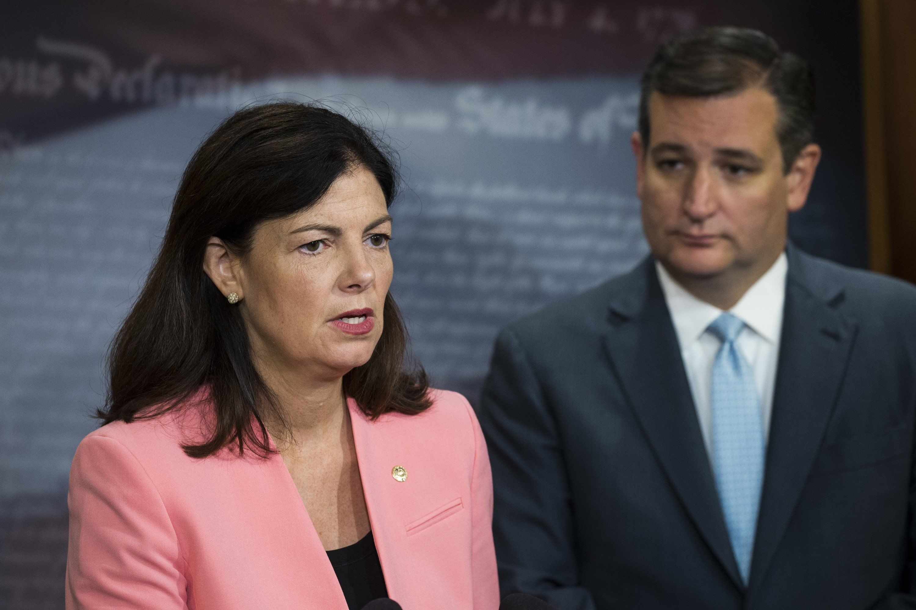 WASHINGTON, USA - September 20: Senator Kelly Ayotte speaks during a press conference to announce their intentions to increase the amount of military aid given to Israel on top of the current MOU between the US and Israel to counter Iranian actions in Washington, USA on September 20, 2016. (Photo by Samuel Corum/Anadolu Agency/Getty Images)