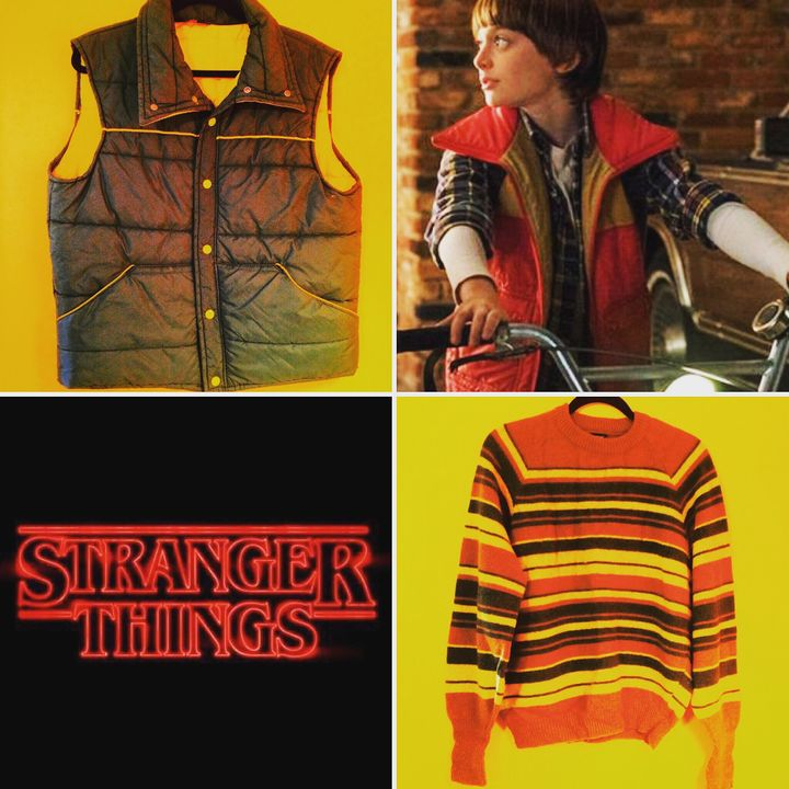 Stranger Things vintage style:  late 70s/early 80s down puffer vest and striped sweater