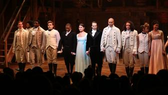 NEW YORK, NY - JULY 09:  Leslie Odom Jr., Phillipa Soo and Ariana DeBose with Lin-Manuel Miranda with the cast during their final performance curtain call of 'Hamilton' on Broadway at Richard Rodgers Theatre on July 9, 2016 in New York City.  (Photo by Walter McBride/WireImage)