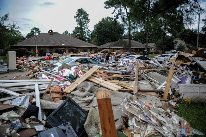 Piles of damage from the severe flooding in Louisiana this past August.