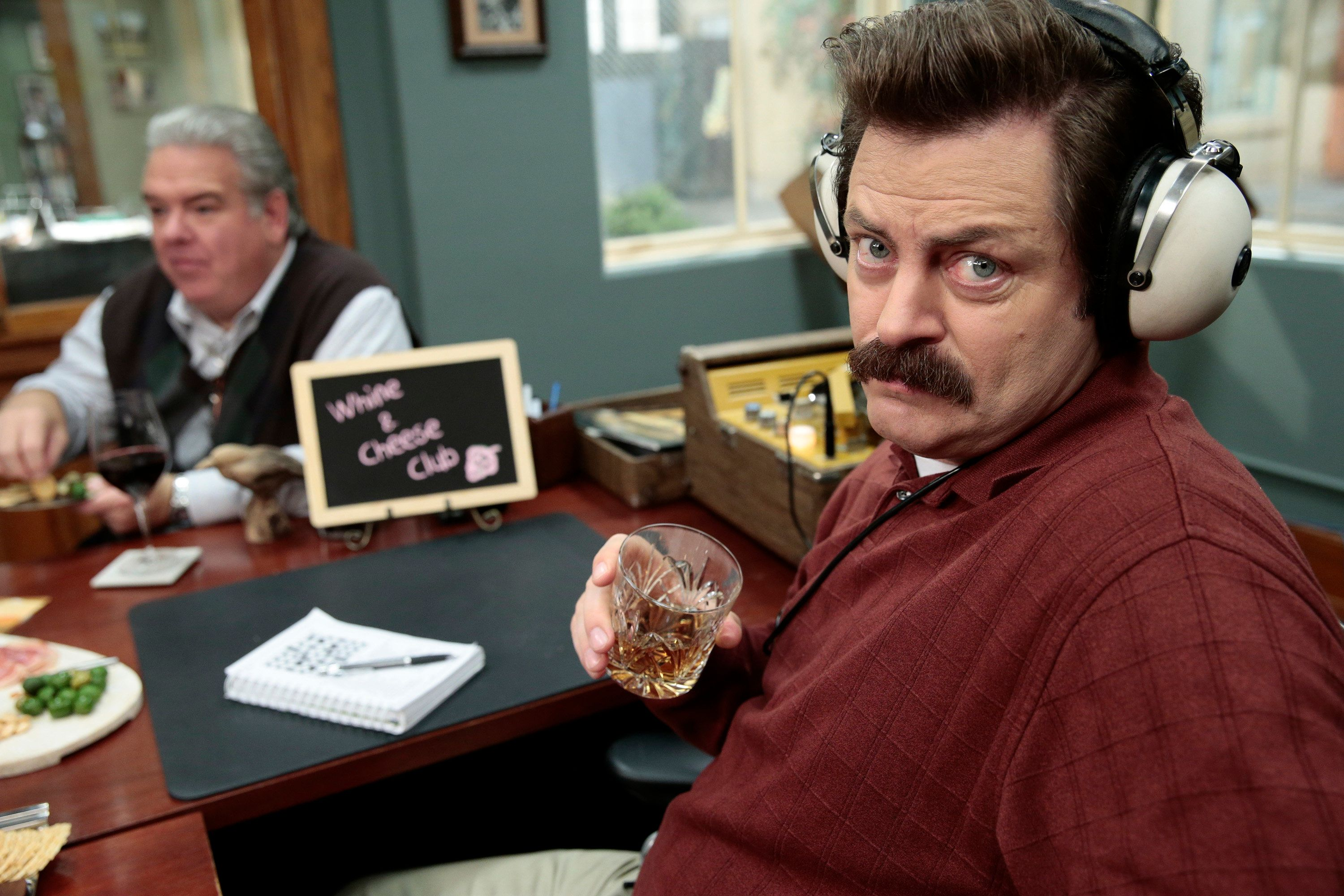 PARKS & RECREATION -- 'Farmers Market' Episode 612 -- Pictured: (l-r) Jim O'Heir as Jerry, Nick Offerman as Ron Swanson -- (Photo by: Chris  Haston/NBC/NBCU Photo Bank via Getty Images)