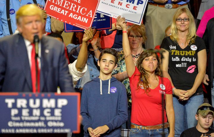 Republican presidential nominee Donald Trump addresses supporters during a campaign rally in Cincinnati, Ohio, this week.&nbs