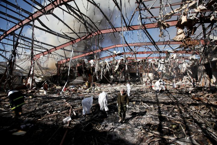 Saudi-led warplanes decimated aa funeral in Sanaa.