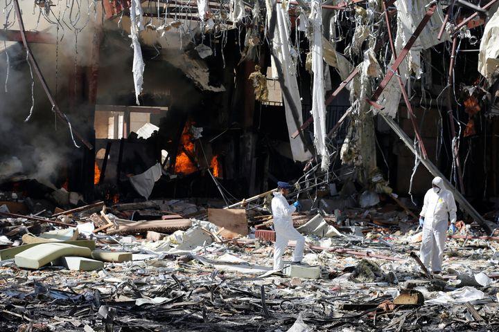The Saudi-led campaign in Yemen has come under severe criticism followingthe attack.