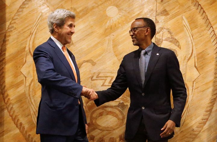 Secretary of State John Kerry and Rwanda's President Paul Kagame are seen during picture opportunity after holding bilateral