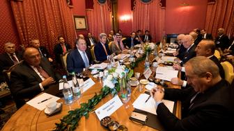 (From L-R), Egypt's Foreign Minister Sameh Shoukry, Russia's Foreign Minister Sergei Lavrov, U.S. Secretary of State John Kerry, Saudi Arabia's Foreign Minister Adel al-Jubeir, Qatar's Foreign Minister Sheikh Mohammed bin Abdulrahman al-Thani, Iraq's Foreign Minister Ibrahim al-Jaafari, Iran's Foreign Minister Mohammad Javad Zarif, Staffan de Mistura, UN Special Envoy of the Secretary-General for Syria, Turkey's Foreign Affairs Minister Mevlut Cavusoglu, Jordan's Foreign Minister Nasser Judeh, speak together around a table during a bilateral meeting where they discussed the crisis in Syria, in Lausanne, Switzerland, October 15, 2016.  REUTERS/Jean-Christophe Bott/Pool     TPX IMAGES OF THE DAY