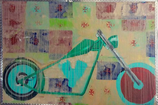 Quilted Bike by Charlie Patton, 78'' x 48'' Oil on linen, mixed medium (photo provided by artist)