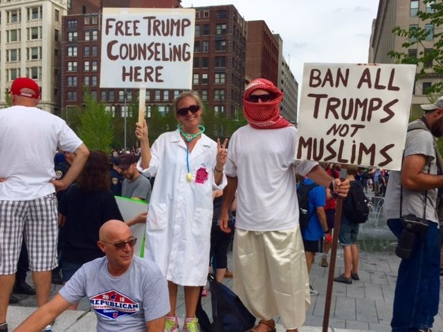 My husband and I protested against the nomination of Donald Trump at the Republican National Convention in Cleveland, Ohio, i