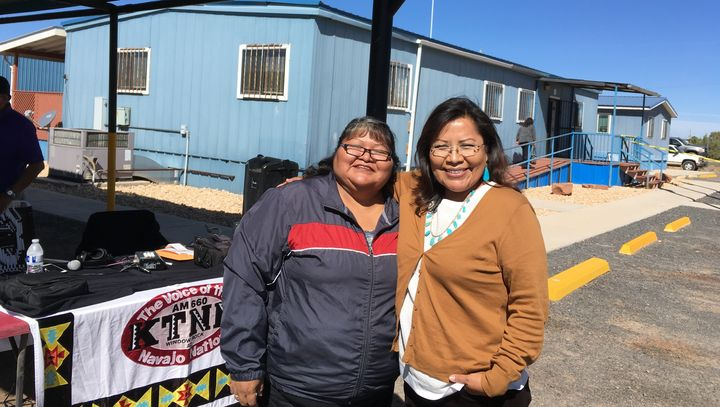 KTNN host Dee Yazzie and Arizona Senate candidate Jamescita Mae Peshlakai at the opening of the Navajo Nation early voting si