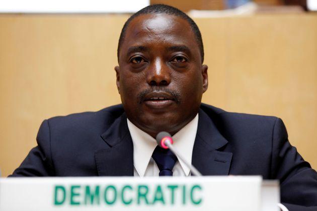 Democratic Republic Congo's President Joseph Kabilaat the African Union Headquarters in Ethiopia's...