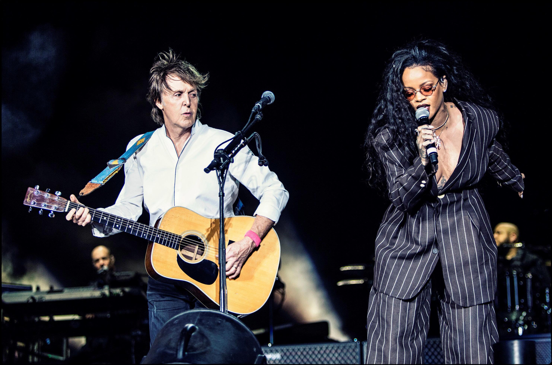 Paul McCartney and Rihanna at Desert Trip music festival, Oct. 15,