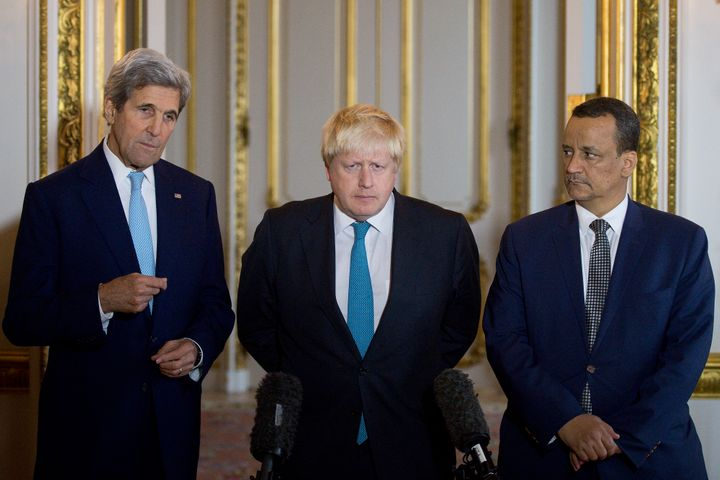 US Secretary of State John Kerry, British Foreign Secretary Boris Johnson and UN Special Envoy for Yemen Ismail Ould Cheikh A