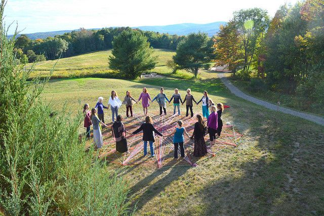 Women practicing Circlework at the 2016 Leadership Training with Jalaja Bonheim Ph.D., at Light on the Hill retreat center in