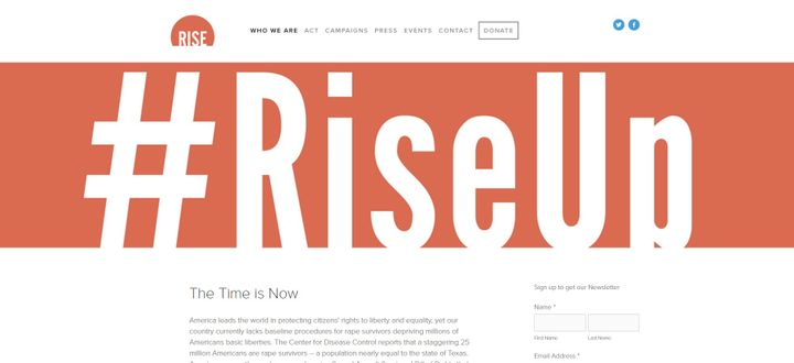 The main homepage for Nguyen's nonprofit movement Rise