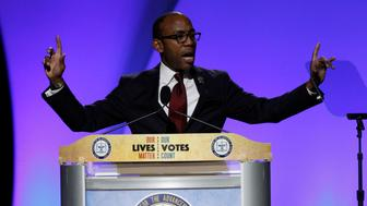 CINCINNATI, OH - JULY 18: Cornell William Brooks President and CEO of the NAACP addresses the crowd before Democratic Presidential candidate Hillary Clinton arrival at the 107th Annual NAACP Convention at the Duke Energy Center July 18, 2016, in Cincinnati, Ohio. Hillary Clinton continued to campaign for the general election in November.    (Photo by John Sommers II/Getty Images)