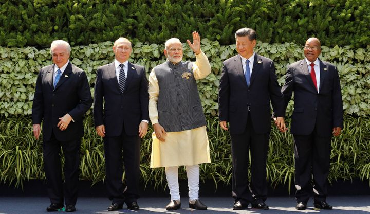 Leaders from BRICS countries pose during a summit in India on October 16.