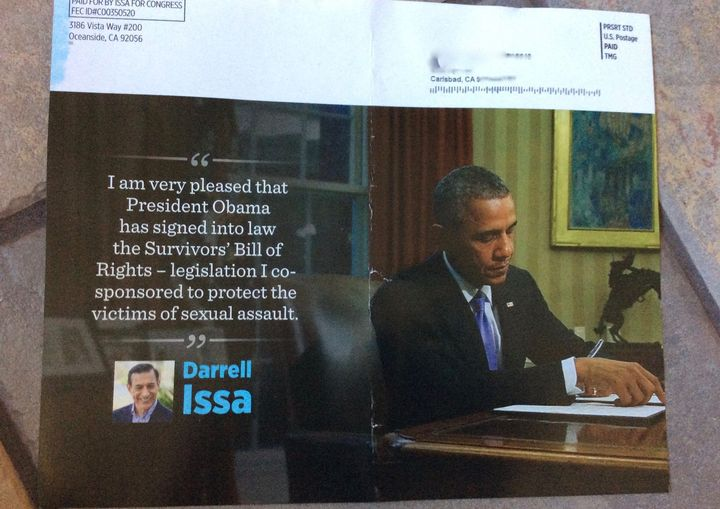 A resident of Carlsbad, California, recently received this mailer from Rep. Darrell Issa's (R) campaign.
