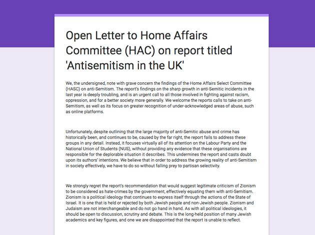 More than 175 people have signed the open letter to the Home Affairs Select