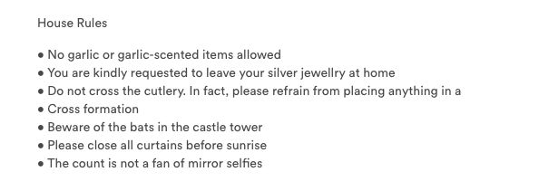 Guests at Dracula's castle must abide by these rules this Halloween.