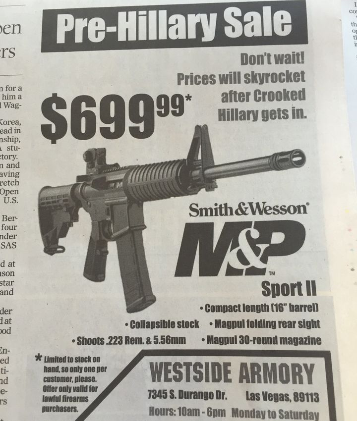 A HuffPost reader sent in a gun ad that ran in the Las Vegas Review-Journal.
