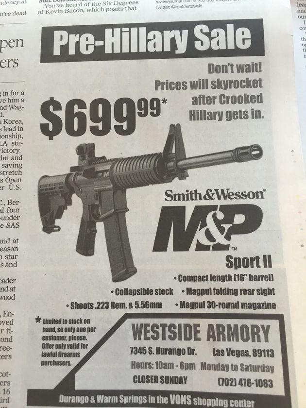 「ヒラリー大統領誕生前に銃を買おう」最後の討論会前に気の早い広告が登場