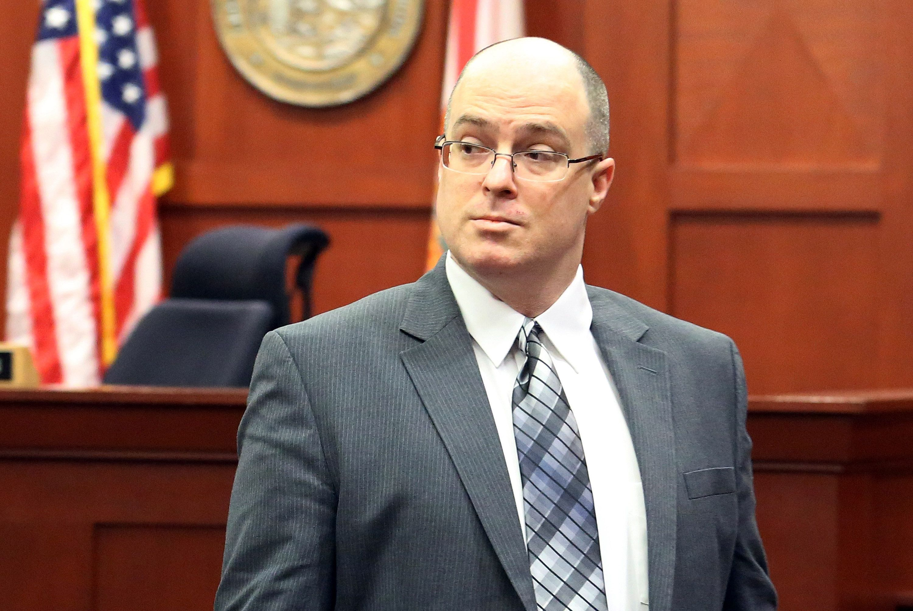 After 5 days of testimony, Matthew Apperson enters a Seminole County courtroom on Sept. 16, 2016 in Sanford, Fla. Closing arguments began today in the trial of Apperson, who says he shot at George Zimmerman in self defense. (Red Huber/Orlando Sentinel/TNS via Getty Images)