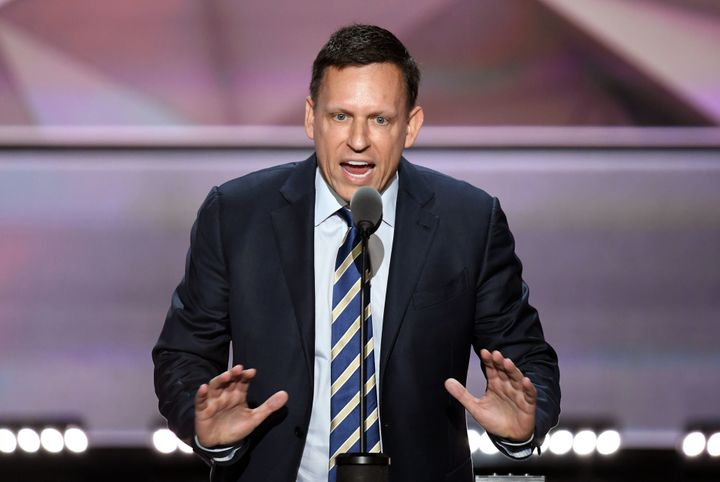 Peter Thiel once wrote that women getting the vote was bad for democracy. Here he is speaking at the RNC in July.
