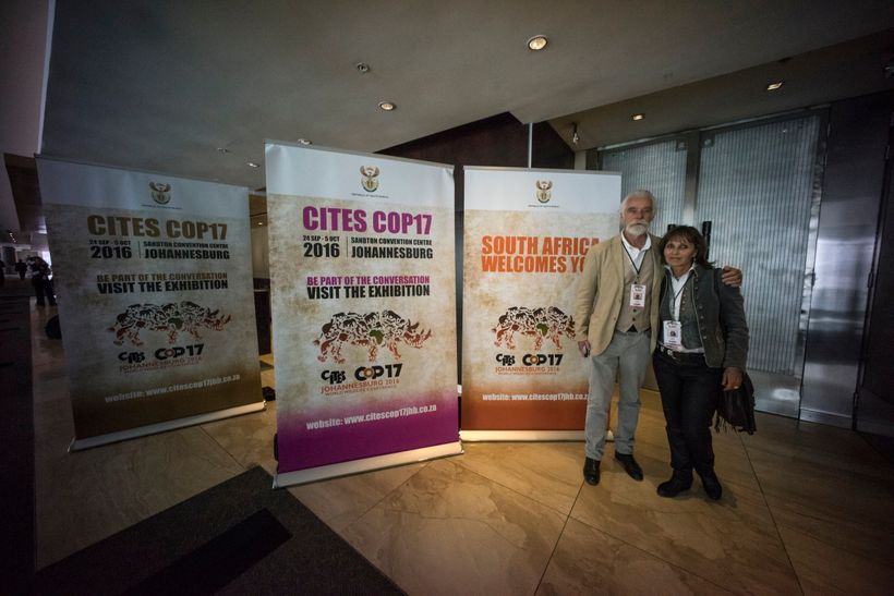 Dereck and Beverly Joubert at the seventeenth meeting of the Convention of International Trade in Endangered Species (CITES,
