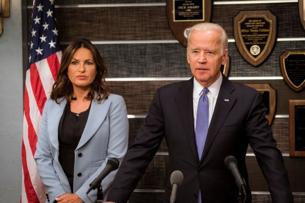 Mariksa Hargitay and Vice President Joe Biden during a scene for