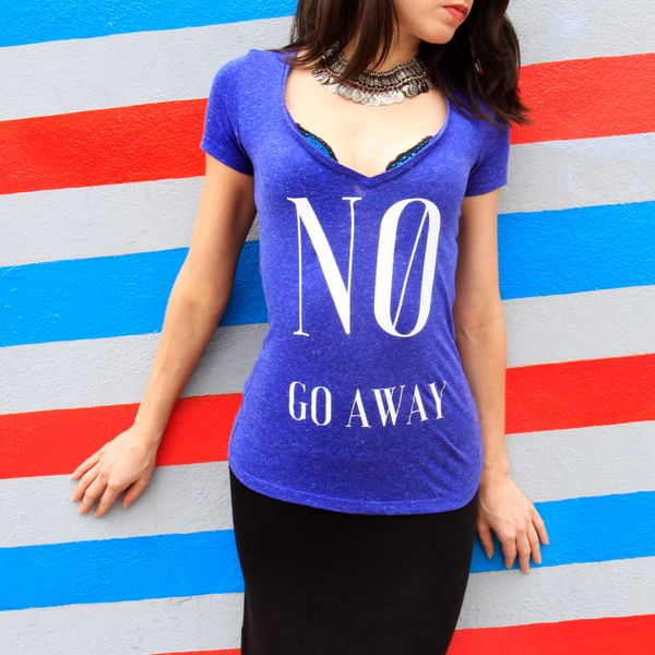 "No Go Away T-Shirt, $20, <a href=""https://www.etsy.com/listing/279327358/no-go-away-shirt-feminist-t-shirt-hand?ga_order=most"