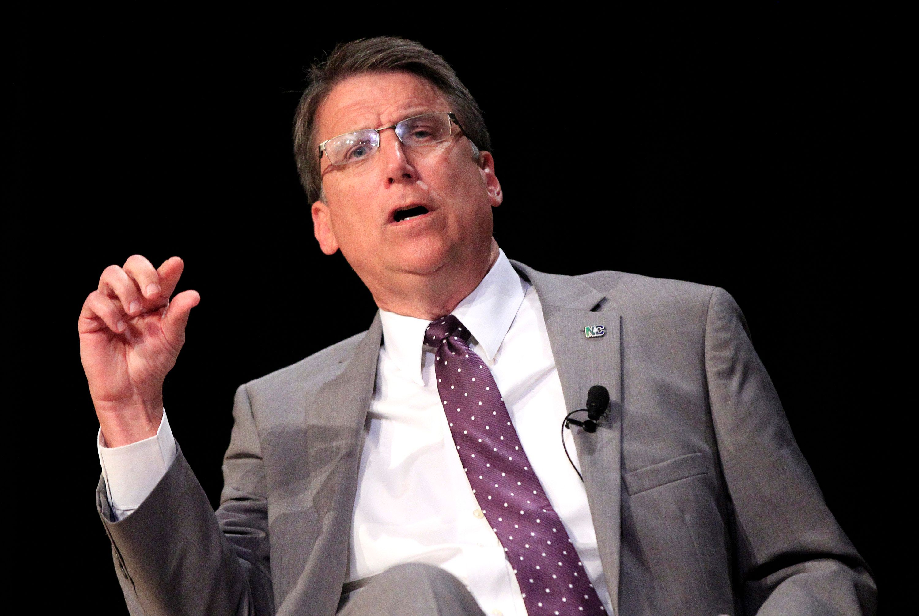 North Carolina Gov. Pat McCrory talks about HB2 during a question and answer session at the N.C. Chamber Annual Government Affairs Conference at the N.C. Museum of History in Raleigh, N.C., on Wednesday, May 4, 2016. (Ethan Hyman/Raleigh News & Observer/TNS via Getty Images)