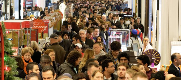 Shoppers crowd the aisles of Macy's department store in Herald Square, New York, on Nov. 26, 2015.