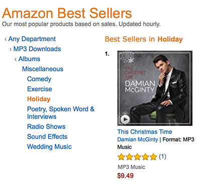 This Christmas Time also hit number one at Amazon on its release day