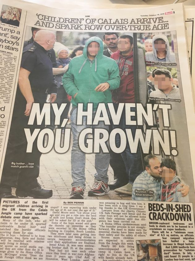 The Sun's reporting of the story (pixellation by HuffPost