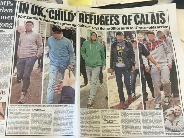 The Mail's coverage of the child refugees (pixellation by HuffPost