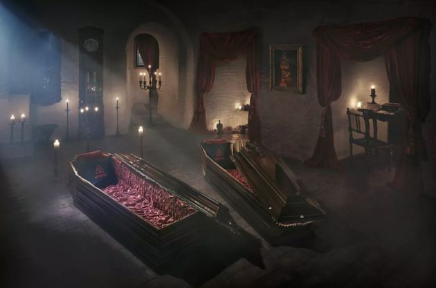 Winners will sleep in luxurious velvet-trimmed coffins in the seclusion of the Count's