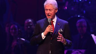 NEW YORK, NY - OCTOBER 17:  Former U.S. president Bill Clinton speaks during the Hillary Victory Fund - Stronger Together concert at St. James Theatre on October 17, 2016 in New York City. Broadway stars and celebrities performed during a fundraising concert for the Hillary Clinton campaign.  (Photo by Justin Sullivan/Getty Images)