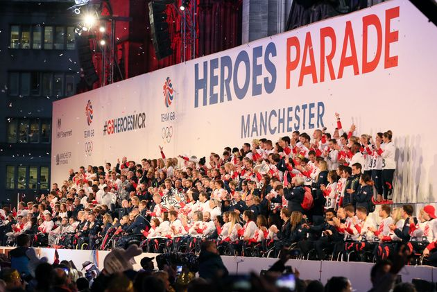 GB'sOlympic and Paralympic athletes on stage during the homecoming