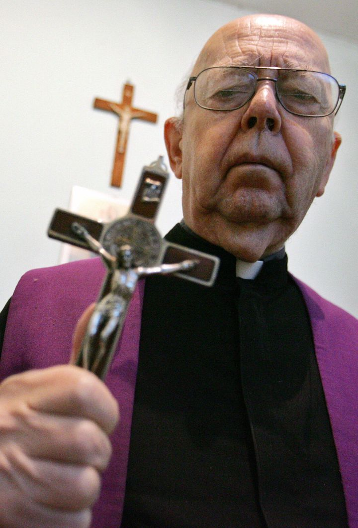 Father Gabriele Amorth (pictured in 2005) died last month after he allegedly performed more than 160,000 exorcisms, leaving a