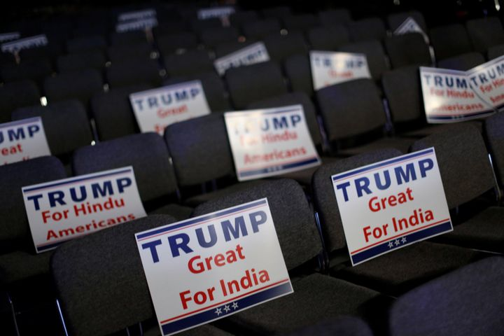 Signs are ready for attendees to hold during a Bollywood-themed charity concert put on by the Republican Hindu Coalition.